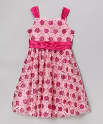 Pink & Fuchsia Dot Dress - Girls