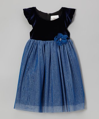 Navy & Periwinkle Velvet Dress - Toddler & Girls
