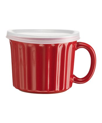 Red Ramekin Soup Mug & Lid