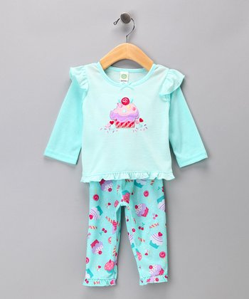 Teal Cupcake Pajama Set - Infant