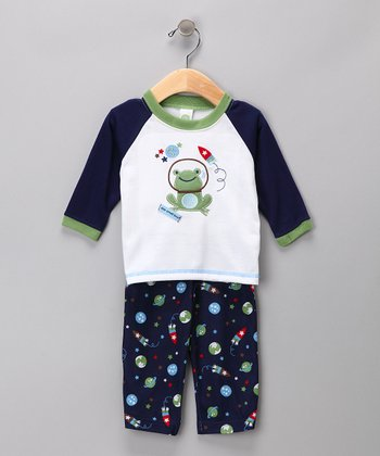 Navy Astro Frog Pajama Set - Infant