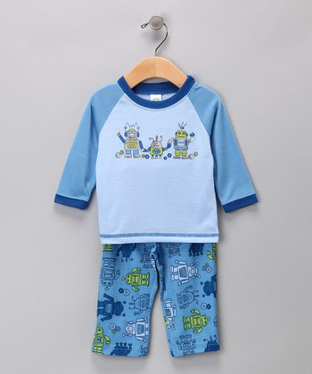 Blue Robot Pajama Set - Infant