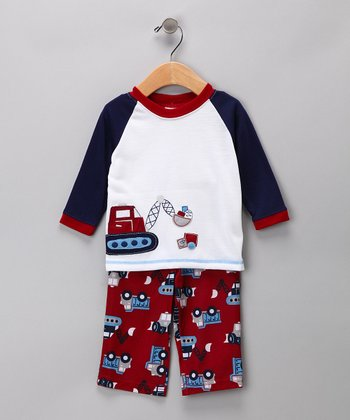 Red Construction Pajama Set - Infant
