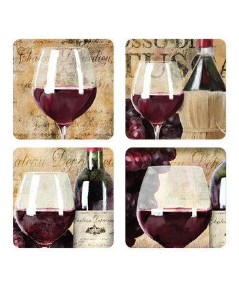 Wine Glass Hard-Backed Cork Coaster - Set of Four