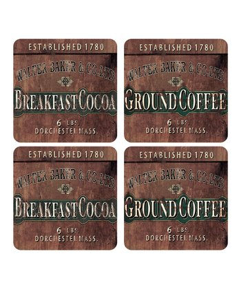 Cocoa Hard-Backed Cork Coaster Set