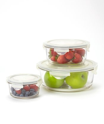 Round Glasslock Three-Piece Storage Container Set