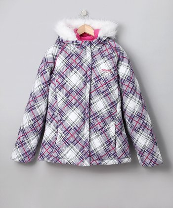 Purple Plaid Puffer Coat - Toddler