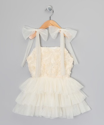 Ivory & Blush Chiffon Rosette Dress - Infant & Toddler