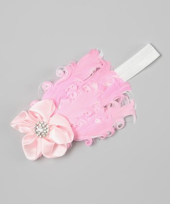 Light Pink Rhinestone Flower Feather Headband