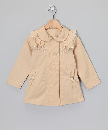 Tan Bow Trench Coat - Girls