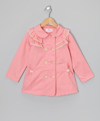 Pink Bow Trench Coat - Girls