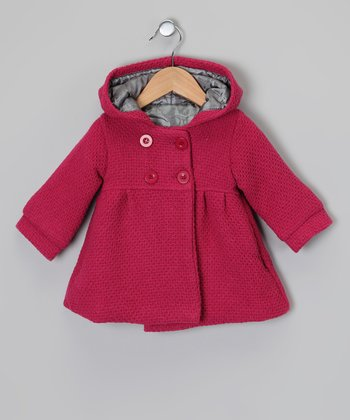 Raspberry Hooded Swing Coat - Infant & Toddler