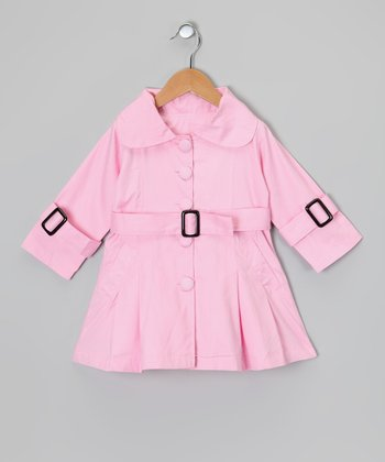 Light Pink Pleated Trench Coat - Toddler & Girls