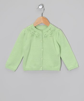 Green Rosette Cardigan - Girls