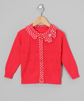Red Polka Dot Bow Cardigan - Toddler & Girls