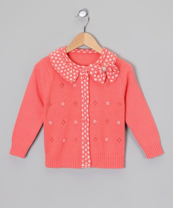 Coral Pink Polka Dot Bow Cardigan - Toddler