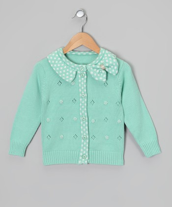 Aqua Polka Dot Bow Cardigan - Toddler & Girls