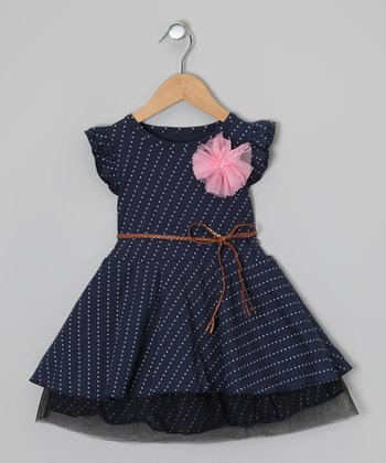 Navy & White Polka Dot Belted Dress - Toddler & Girls