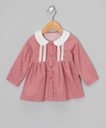 Rose & White Polka Dot Button-Up Dress - Toddler & Girls