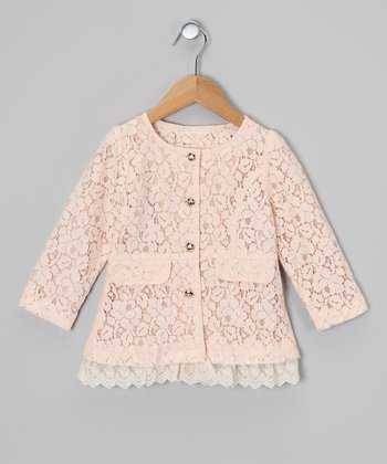 Light Pink Lace Coat - Girls