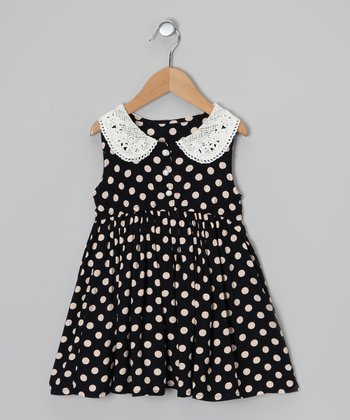Navy & White Polka Dot Sleeveless Dress - Infant, Toddler & Girls