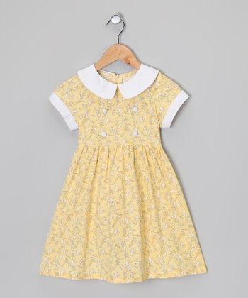 Yellow & White Umbrella Dress - Toddler & Girls