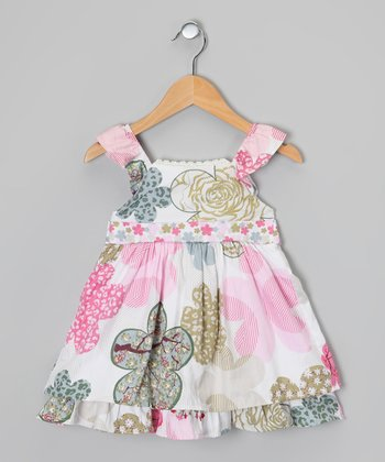 White & Pink Floral Ruffle Angel-Sleeve Dress - Toddler & Girls