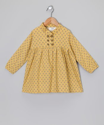 Mustard & Green Long-Sleeve Dress - Toddler & Girls