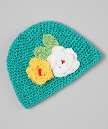 Aqua & Yellow Flower Crocheted Beanie