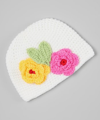White & Pink Flower Crocheted Beanie