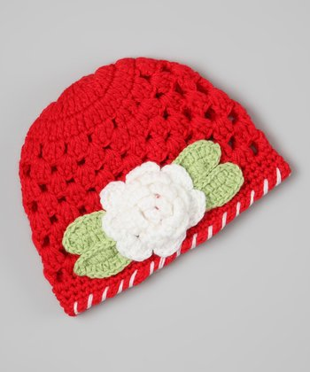 Red & White Flower Crocheted Beanie