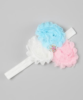 Blue & Pink Rhinestone Flower Headband