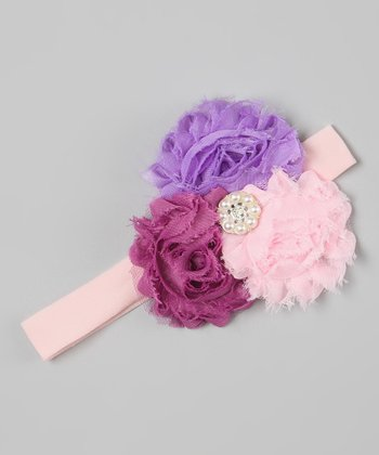 Purple & Pink Pearl Flower Headband