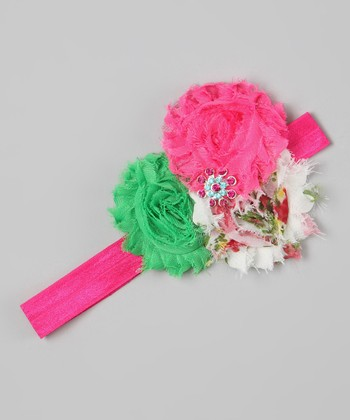 Hot Pink & Green Rhinestone Flower Headband