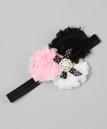 Black & Pink Rhinestone Flower Headband