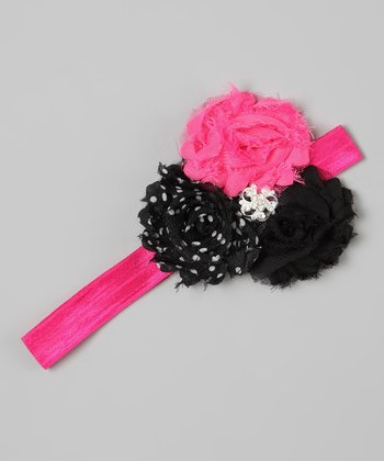 Hot Pink & Black Polka Dot Rhinestone Flower Headband