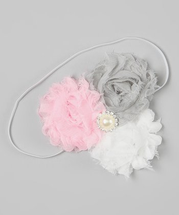 Light Pink & Gray Pearl Flower Headband