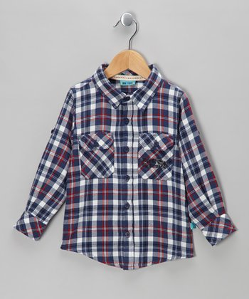 Estate Blue Can Bam Plaid Button-Up - Toddler & Boys