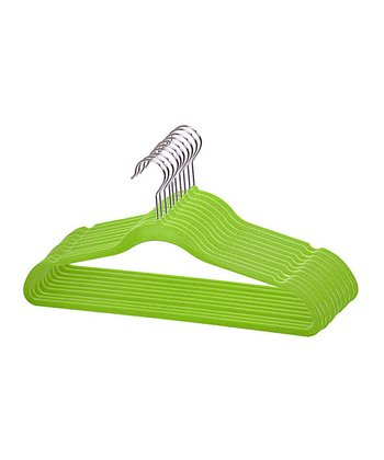 Green Velvet Hanger - Set of Six