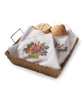 Holiday Cornucopia Bread Cover Embroidery Kit