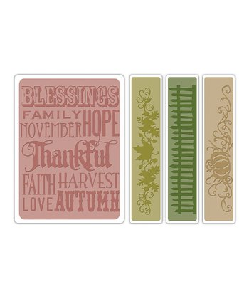 Thankful Background & Borders Texture Fades Embossing Folder Set