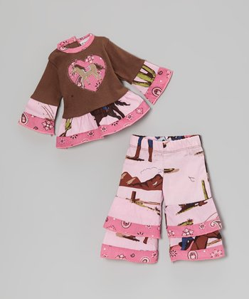 Pink & Brown West Doll Outfit