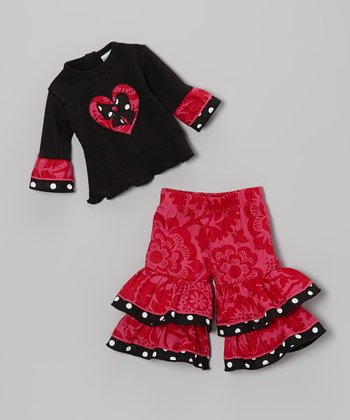 Red & Black Blossom Heart Doll Outfit