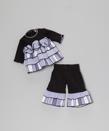 Black & Lilac Rose Doll Outfit