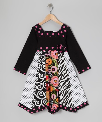 Pink & Black Polka Dot Rizzo Dress - Toddler & Girls