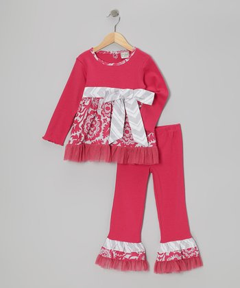 Pink & Gray Bell Tunic & Ruffle Pants - Girls