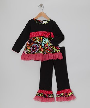 Pink & Black Robin Tunic & Ruffle Pants - Toddler & Girls