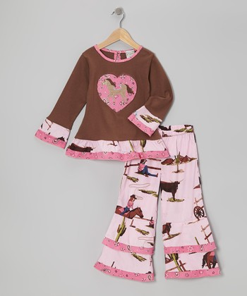 Pink & Brown West Tunic & Ruffle Pants - Infant, Toddler & Girls
