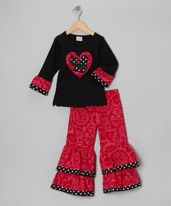 Red & Black Blossom Heart Tunic & Ruffle Pants - Toddler & Girls