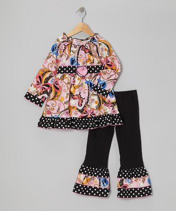 Pink & Black Butterfly Tunic & Ruffle Pants - Toddler & Girls